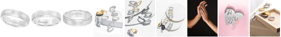Triton Men's White Tungsten Carbide Ring, Comfort Fit Wedding Band (6mm)