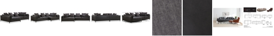 """Furniture Plassey 135"""" 2-Pc. Leather Chaise Sectional Sofa"""