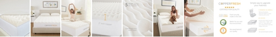 """CopperFresh Wave 2"""" Foam Mattress Topper with Copper-Embedded Cover Collection"""