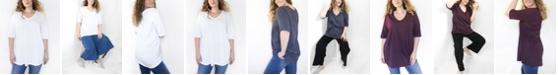 Ori Women's Plus Size CloudSoft Elbow Sleeve V-Neck Tunic