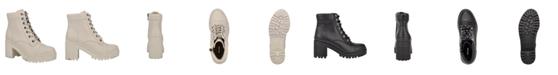 Nine West Women's Quenton Lace-Up Lug Sole Heeled Combat Booties