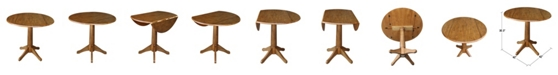 """WHITEWOOD INDUSTRIES/INTNL CONCEPTS 42"""" Round Dual Drop Leaf Pedestal Table 30.3""""H, Pecan"""
