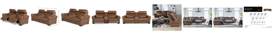 Furniture Josephia 3-Pc. Leather Sectional with 2 Power Recliners and Console, Created for Macy's