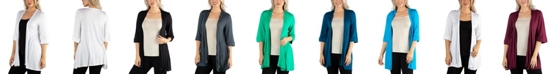 24seven Comfort Apparel Open Front Elbow Length Sleeve Women Cardigan