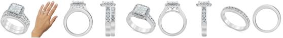 Macy's Diamond (2-7/8 ct. t.w.) Princess Quad Cluster Bridal Set in 14k White Gold