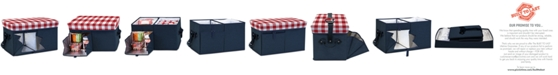 Picnic Time Oniva™ by Gingham-Topped Navy Ottoman Cooler/Seat
