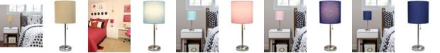 LimeLights Lime Lights Stick Lamp with Charging Outlet and Fabric Shade