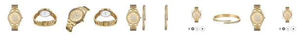 Jbw Women's Mondrian Jewelry Set Diamond (1/6 ct.t.w.) 18k Gold Plated Stainless Steel Watch