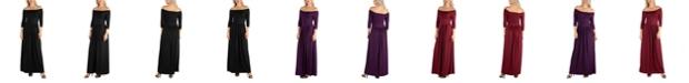 24seven Comfort Apparel Women's Off Shoulder Pleated Waist Maxi Dress
