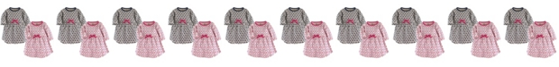 Touched by Nature Baby and Toddler Girls Garden Floral Youth Long-Sleeve Dresses, Pack of 2