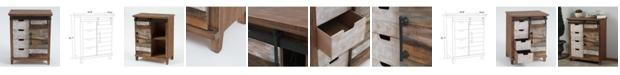 Luxen Home Rustic Chic Sliding Door Wood Cabinet