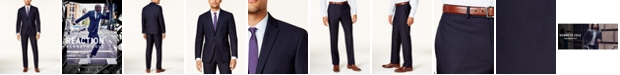 Kenneth Cole Reaction Men's Big and Tall Ready Flex Navy Shadow Check Slim-Fit Suit
