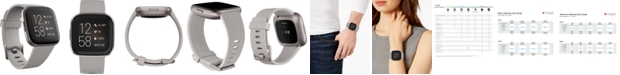 Fitbit Versa 2 Mist Gray Elastomer Strap Touchscreen Smart Watch 39mm