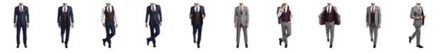Tazio Men's Slim Fit Notch Lapel Madras Suit