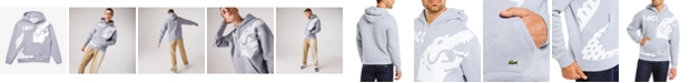 Lacoste Men's LIVE Loose Fit Long Sleeve Colorblock Hoodie with Printed Oversized Croc and Logo Lettering