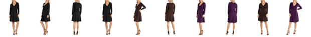 24seven Comfort Apparel Women's Knee Length Long Sleeve Wrap Dress