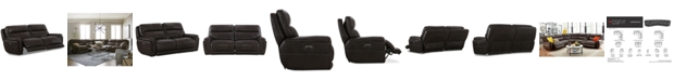 """Furniture Summerbridge 84"""" 2-Pc. Leather Sectional Sofa with 2 Power Reclining Chairs, Power Headrests and USB Power Outlet"""