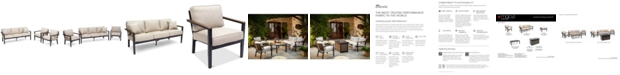 Furniture Stockholm Outdoor 3-Pc. Seating Set (Sofa & 2 Club Chairs) with Sunbrella® Cushions, Created for Macy's