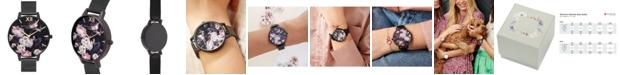 Olivia Burton Women's Black Stainless Steel Mesh Bracelet Watch 38mm