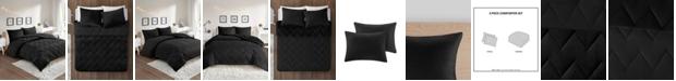 Intelligent Design Kai Full/Queen Solid Chevron Quilted Reversible Microfiber to Cozy Plush 3 Piece Comforter Mini Set