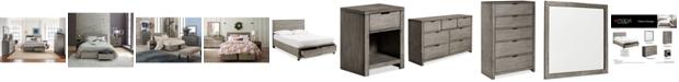 Furniture Tribeca Grey Storage Platform Bedroom Furniture Collection, Created for Macy's
