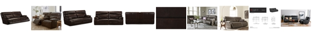 """Furniture Barington 85"""" Leather Sofa with 2 Power Recliners, Power Headrests and USB Power Outlet"""
