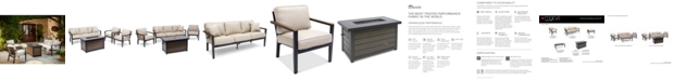 Furniture Stockholm Outdoor 4-Pc. Seating Set (Sofa, 2 Club Chairs & Fire Pit) with Sunbrella® Cushions, Created for Macy's