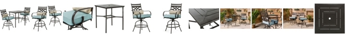 "Hanover Montclair 3-Piece High-Dining Set with 2 Swivel Chairs and a 33"" Square Table - 36.2"" x 33"" x 87.9"""