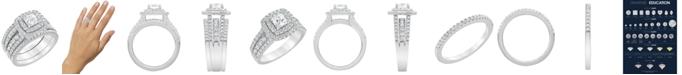 Macy's Diamond Princess-Cut Halo Bridal Set (2 ct. t.w.) in 14K White Gold