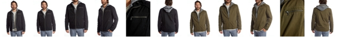 PX Men's Layered Vegan Leather and Knit Hooded Jacket