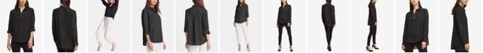 DKNY High-Low Roll-Tab-Sleeve Shirt
