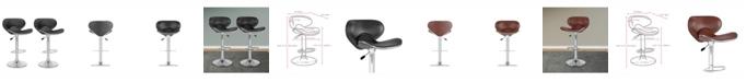 CorLiving Curved Form Fitting Adjustable Barstool in Leatherette, Set of 2