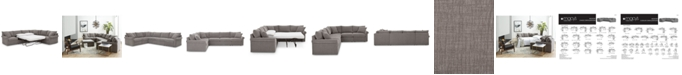 """Furniture Wedport 5-Pc. Fabric """"L"""" Shape Modular Sleeper Sectional Sofa with Square Corner Piece, Created for Macy's"""