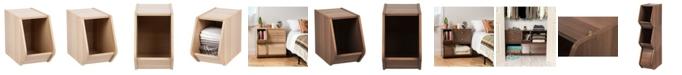 IRIS USA Modular Wood Stacking Open Storage Box, Narrow