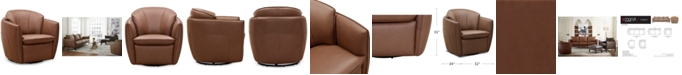 """Furniture Chanute 32"""" Leather Accent Swivel Chair, Created for Macy's"""