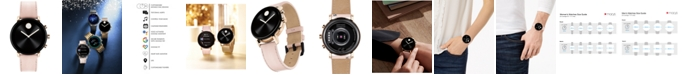 Movado Connect 2.0 Pink Leather Strap Touchscreen Smart Watch 40mm