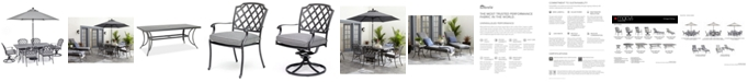 """Furniture Vintage II Outdoor Cast Aluminum 7-Pc. Dining Set (72"""" X 38"""" Table, 4 Dining Chairs & 2 Swivel Chairs) With Sunbrella® Cushions, Created for Macy's"""