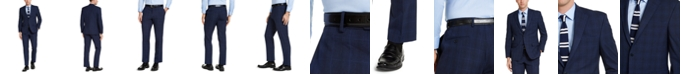 IZOD Men's Classic-Fit Dark Blue Windowpane Plaid Suit