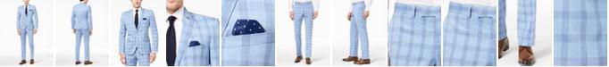 Nick Graham Men's Slim-Fit Stretch Bright Blue Plaid Suit