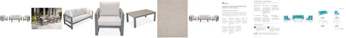 Furniture Aruba Grey Aluminum Outdoor 4-Pc. Seating Set (1 Sofa, 2 Club Chairs & 1 Coffee Table) with Sunbrella® Cushions, Created for Macy's