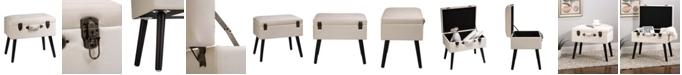 "Glitzhome 19.7"" L Seashell Velvet Upholstered Storage Stool with Black Solid Rubberwood Legs"
