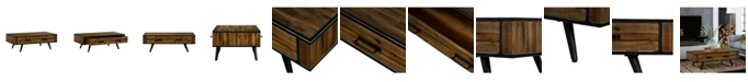Armen Living Cusco Rustic Acacia Coffee Table with Drawer