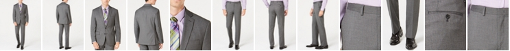 Ryan Seacrest Distinction Men's Ultimate Moves Modern-Fit Stretch Black/White Birdseye Suit Separates, Created for Macy's