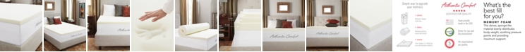 """Authentic Comfort CLOSEOUT! 2"""" Breathable Memory Foam Full Mattress Topper"""