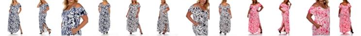 White Mark Plus Size Cold Shoulder Tie-Dye Maxi Dress