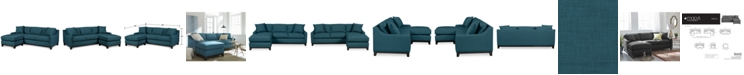 """Furniture Keegan 90"""" 2-Piece Fabric Reversible Chaise Sectional Sofa"""