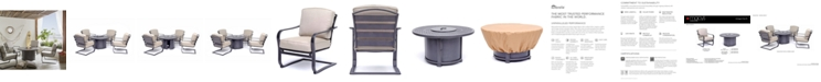 Furniture Vintage II 5-Pc. Round Fire Pit Chat Set, with Sunbrella® Cushions (1 Firepit & 4 Chairs), Created for Macy's