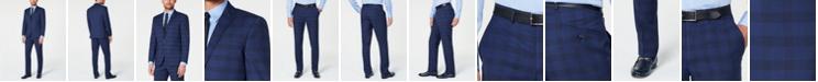 Kenneth Cole Reaction Men's Techni-Cole Slim-Fit Stretch Dark Blue Plaid Suit
