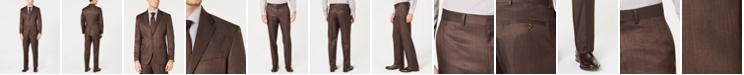 Dockers Men's Classic-Fit Stretch Brown Sharkskin Suit
