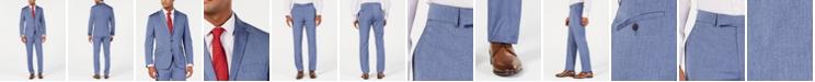 Kenneth Cole Reaction Men's Big & Tall Techni-Cole Slim-Fit Stretch Denim Blue Sharkskin Suit